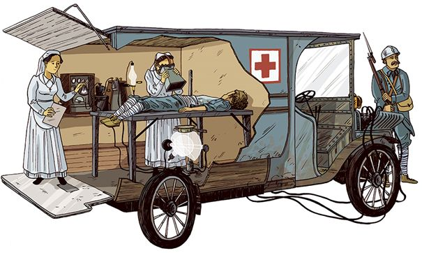 It was difficult and time-consuming to evacuate the thousands of wounded soldiers from the trenches to traditional military hospitals located far behind the lines. The solution was to develop mobile radiology units which could get closer to the battlefields. The French in particular were active in this aspect, which required considerable ingenuity to overcome problems such as those caused by the then fragility of the radiology equipment. Image visualization techniques have changed in the hundred years since the First World War.