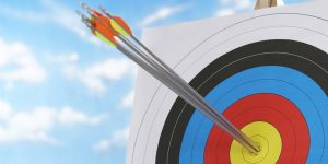 image of target with arrows in bulls eye